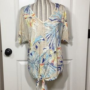 NWT! Chico's Tropical-Print Tie-Front Pullover